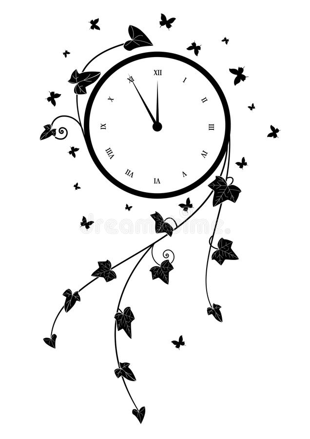 Zegar i bluszcz ilustracji