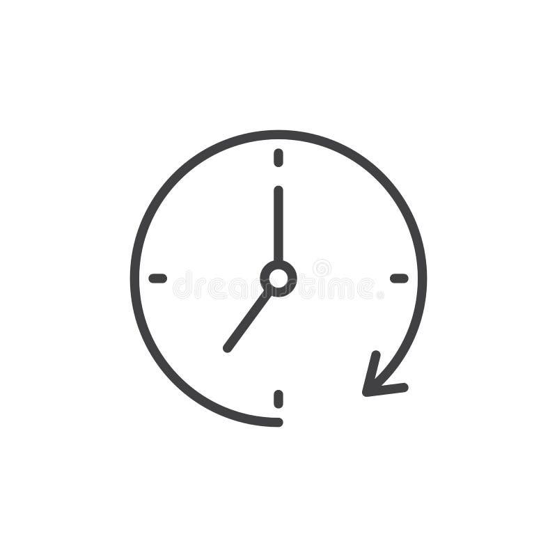 Zegar i obracanie konturu strzałkowata ikona ilustracji