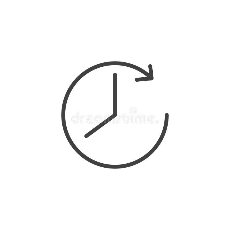 Zegar i strzałkowata kontur ikona royalty ilustracja