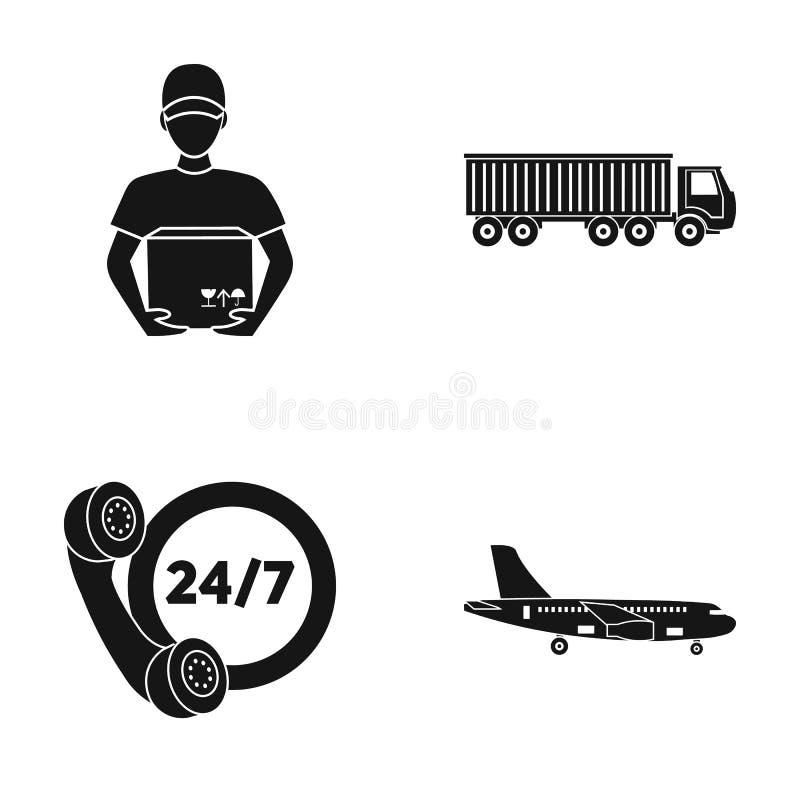 Zegar komunikacja, kurier z pudełkiem, ciężarówka, ładunku samolot Logisti, cset inkasowe ikony w czerni projektuje wektor royalty ilustracja