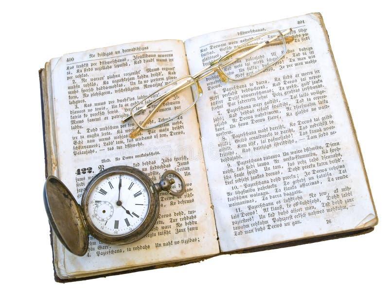 zegar książkowi stare okulary zdjęcie stock