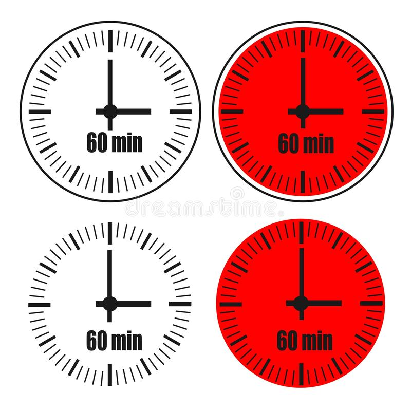 Zegar 60 minut ikona ilustracji