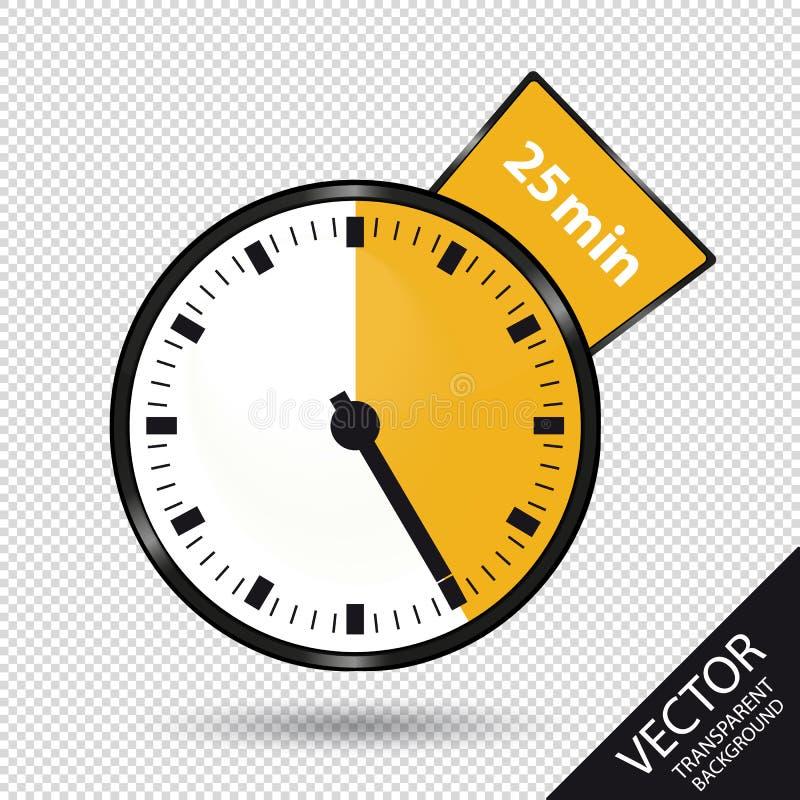 Zegar 25 minut Odizolowywających Na Przejrzystym tle - Wektorowa ilustracja - royalty ilustracja