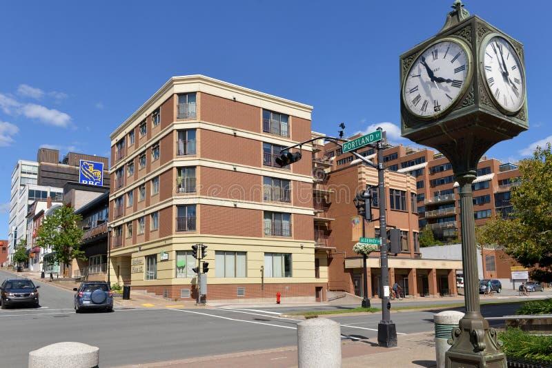 Zegar na początku Portland St w Dartmouth, nowa Scotia fotografia royalty free
