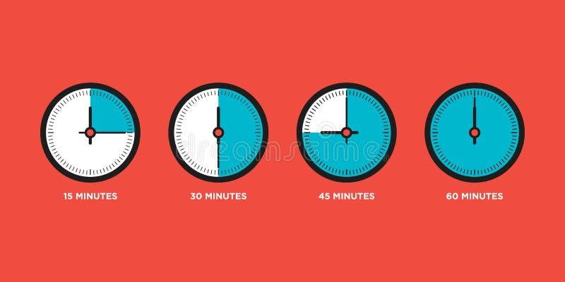 zegar Set czas w jeden godzina projekta wektoru płaskiej ilustraci ilustracja wektor