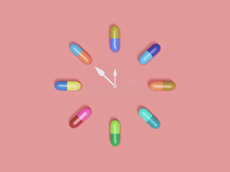 Zegar utworzony z tabletek kapsułek Renderowanie 3w ilustracji