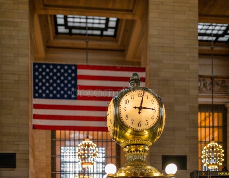 Zegar w Miasto Nowy Jork Uroczysty Środkowy Stacyjny Hall zdjęcie stock
