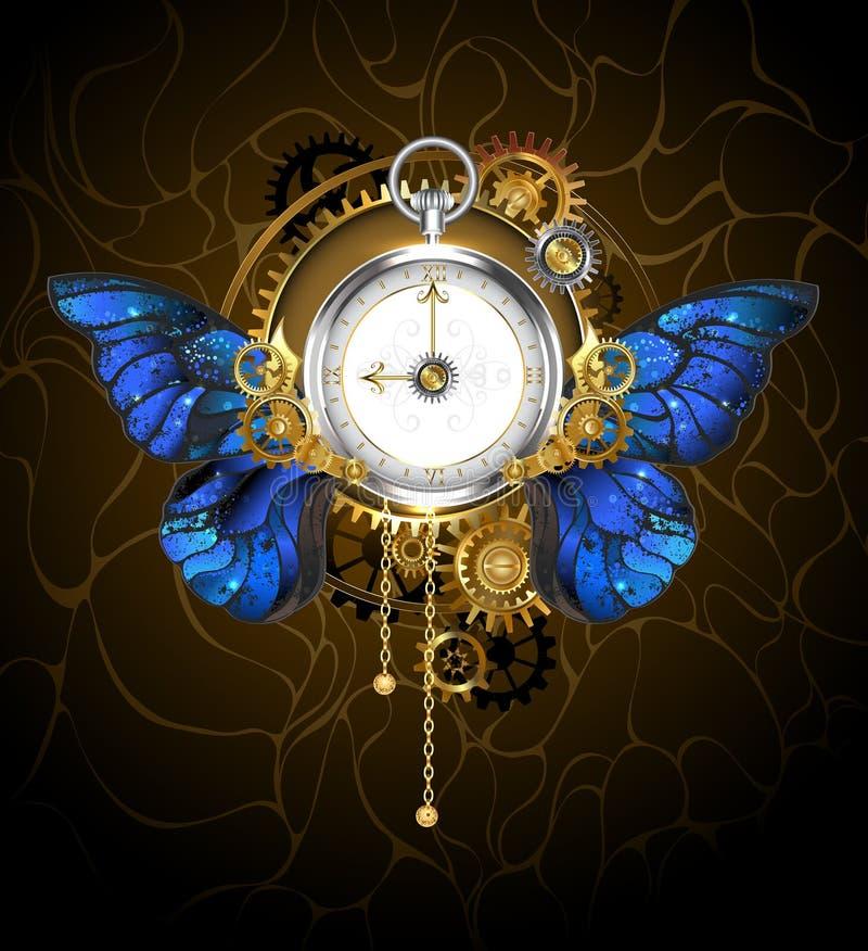 Zegar z błękitnymi motylimi skrzydłami ilustracja wektor