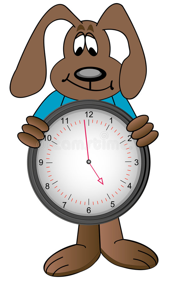 zegar z kreskówki psa gospodarstwa ilustracja wektor