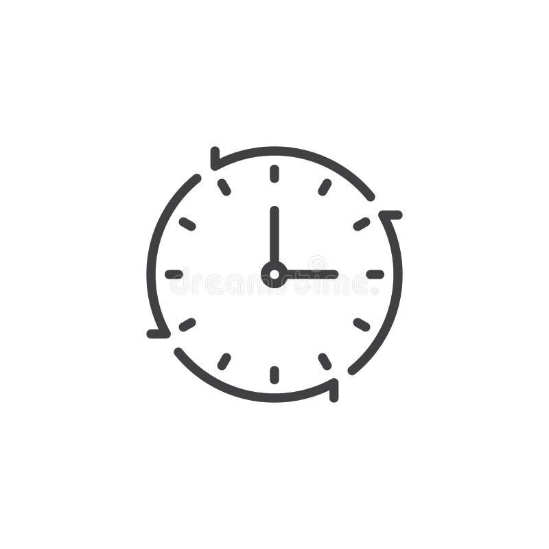 Zegar z Strzałkowatą kontur ikoną ilustracja wektor