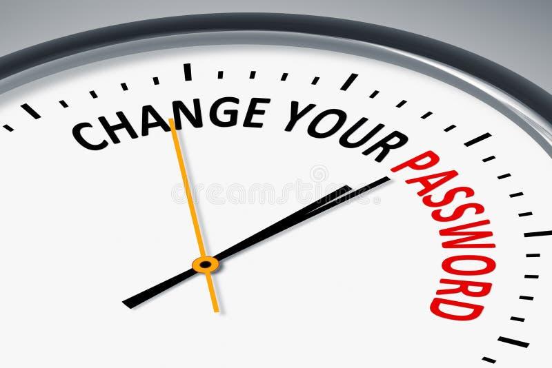 Zegar z tekst zmianą twój hasło ilustracja wektor
