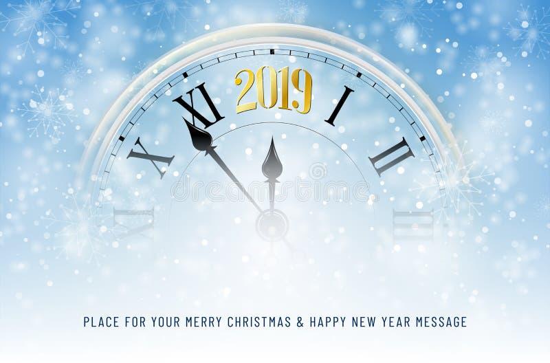 Zegar z złotą 2019 nowy rok liczbą na śnieżnym tle ilustracja wektor