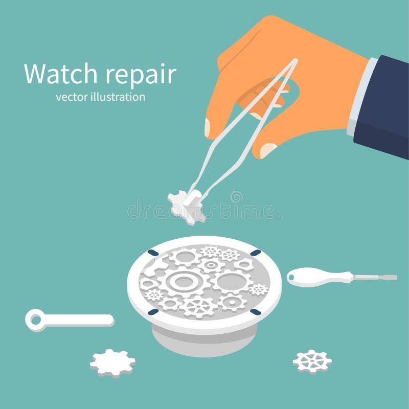 Zegarek naprawa Instalować część w łamanym clockwork ilustracja wektor