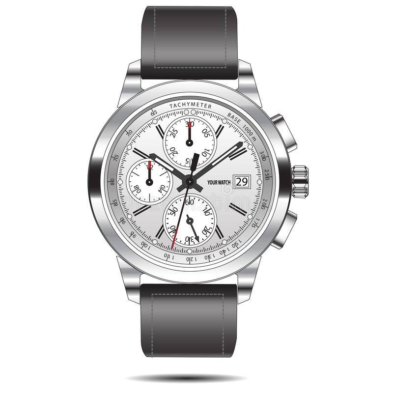 Zegarka chronografu stali nierdzewnej wektor royalty ilustracja