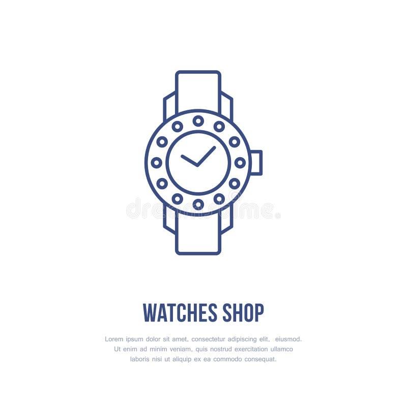 Zegarki z karową ilustracją Wristwatch mieszkania linii ikona, zegarowy sklep lub remontowej usługa logo, Drodzy akcesoria ilustracji