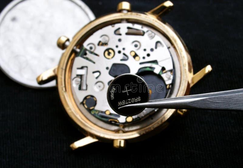 Zegarmistrza odmieniania bateria zdjęcie stock
