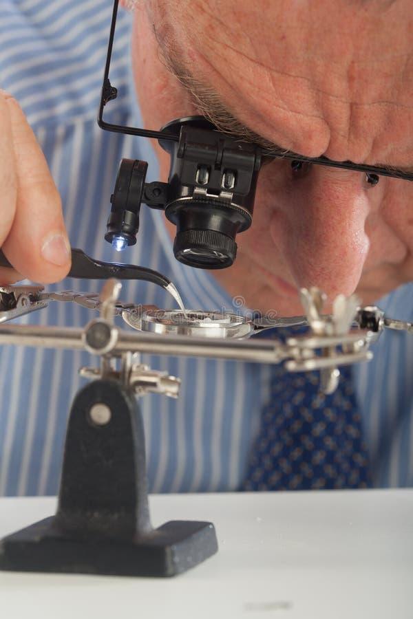 Zegarmistrza zakończenie fotografia stock