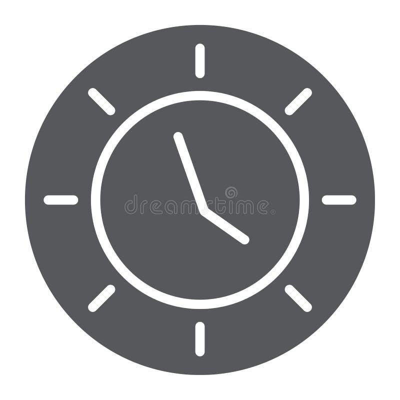 Zegarowa glif ikona, zegarek i godzina, czasu znak, wektorowe grafika, bryła wzór na białym tle ilustracji