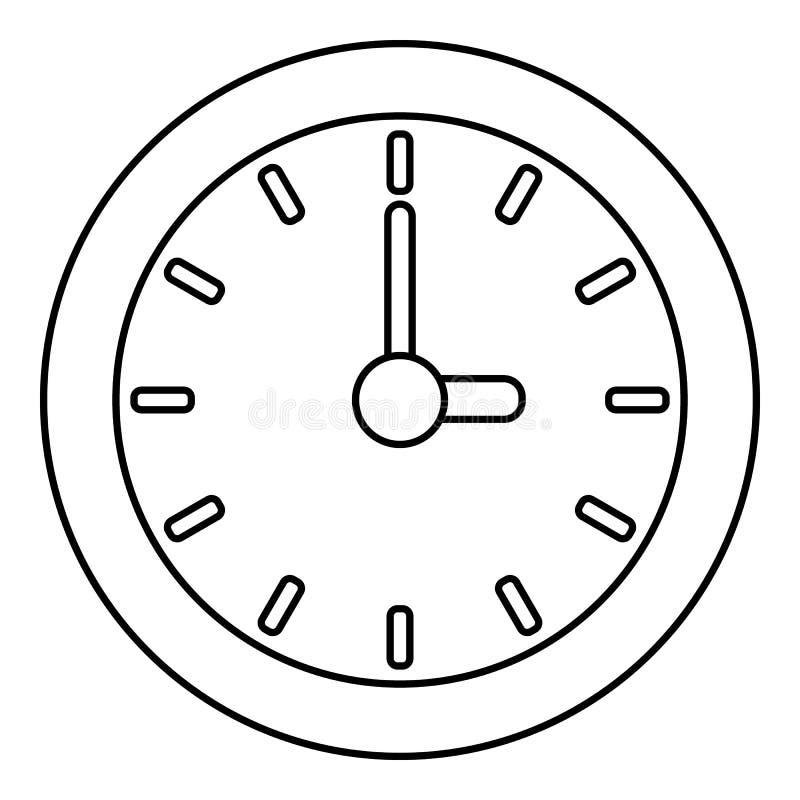 Zegarowa ikona, konturu styl royalty ilustracja