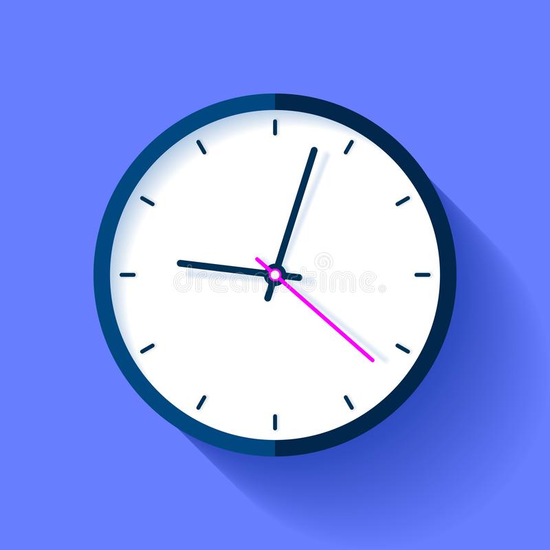 Zegarowa ikona w mieszkanie stylu, round zegar na błękitnym tle Dziewięć o ` zegar Prosty zegarek Wektorowy projekta element dla  royalty ilustracja