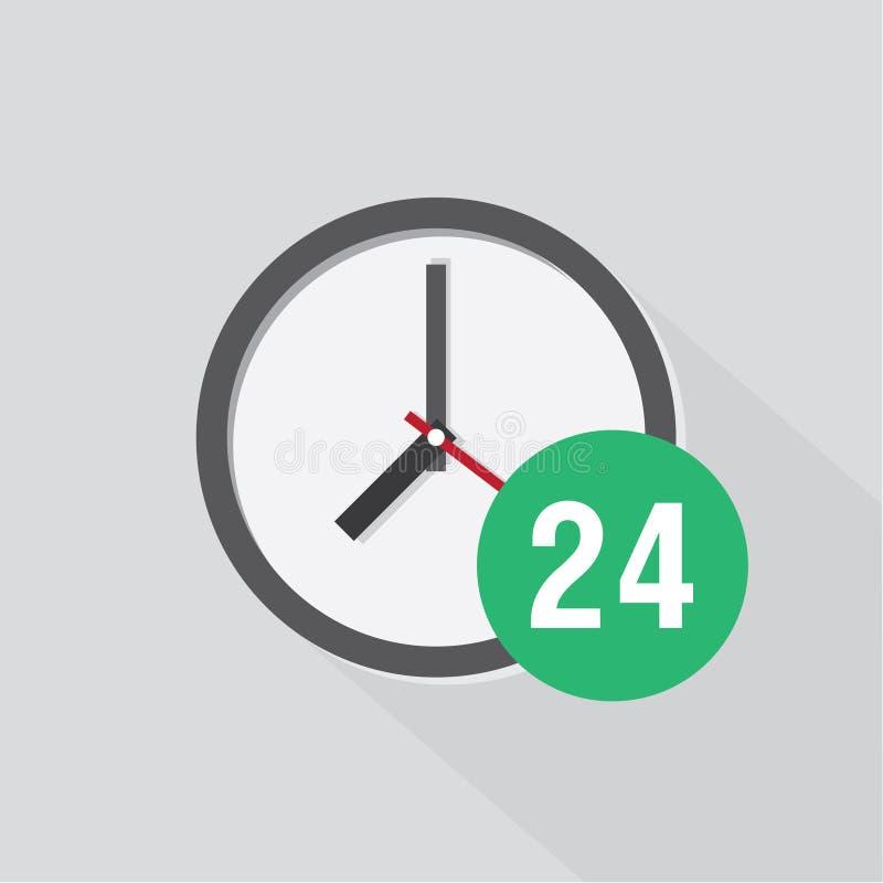 Zegarowa ikona z cieniem pokazuje czas ilustracja wektor