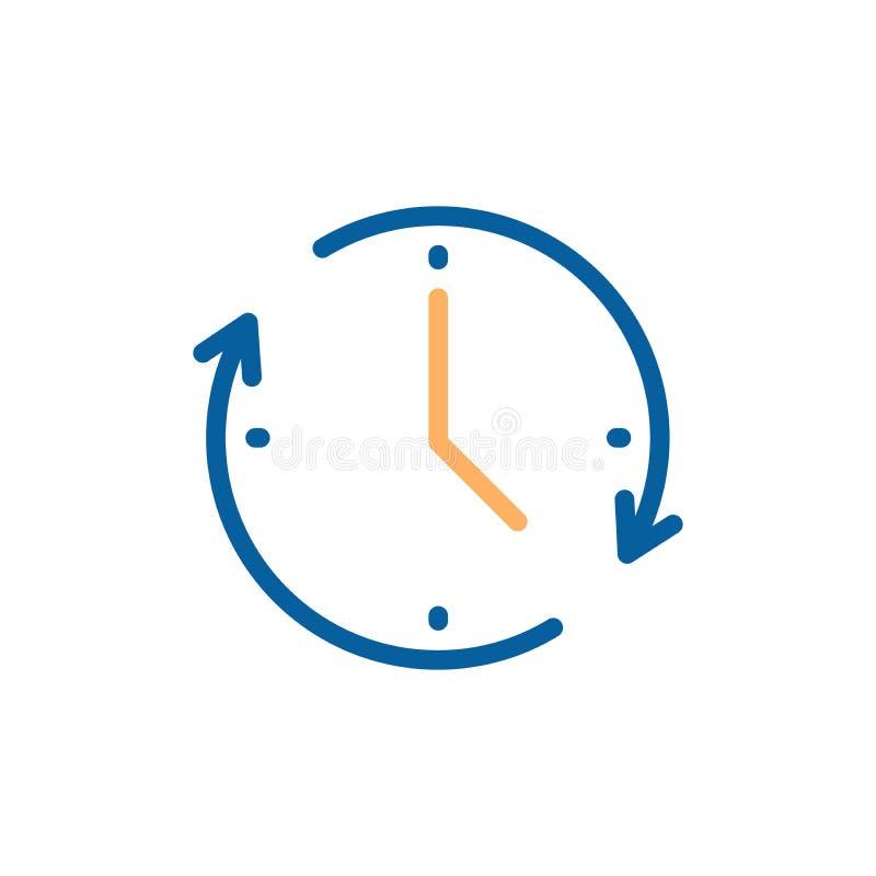 Zegarowa ikona z kółkowego ruchu kształtem z strzałkowatym wskazującym upływ czasu Wektorowa ilustracja dla pojęć czas, postęp, ilustracja wektor