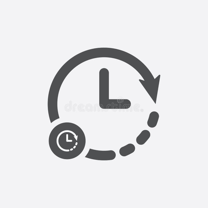 Zegarowa ikona z zegaru znakiem Zegarowa ikona i odliczanie, ostateczny termin, rozkład, planistyczny symbol ilustracji