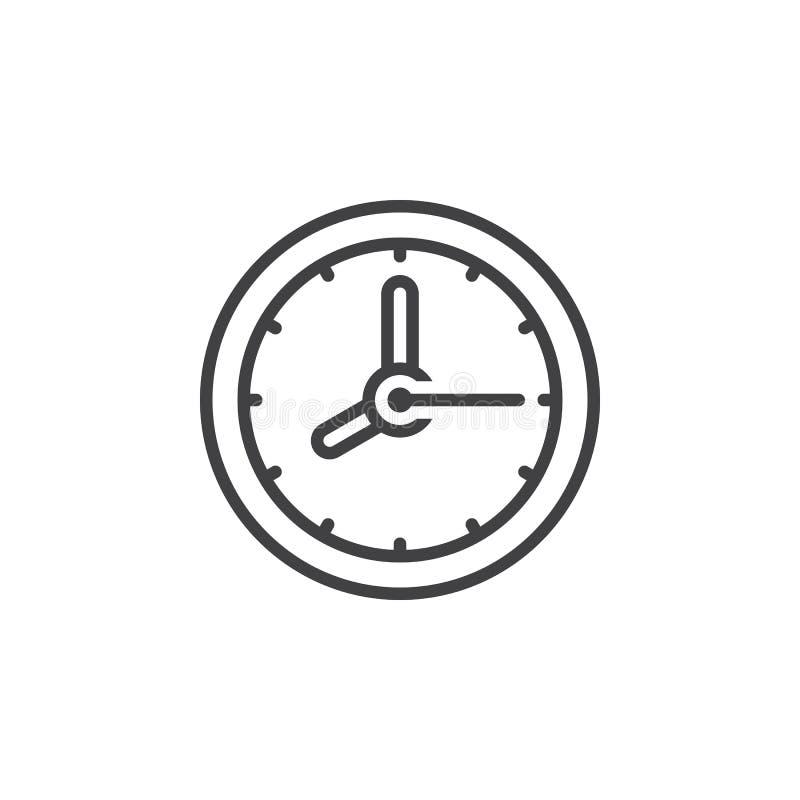 Zegarowa kreskowa ikona, konturu wektoru znak, liniowy piktogram odizolowywający ilustracji