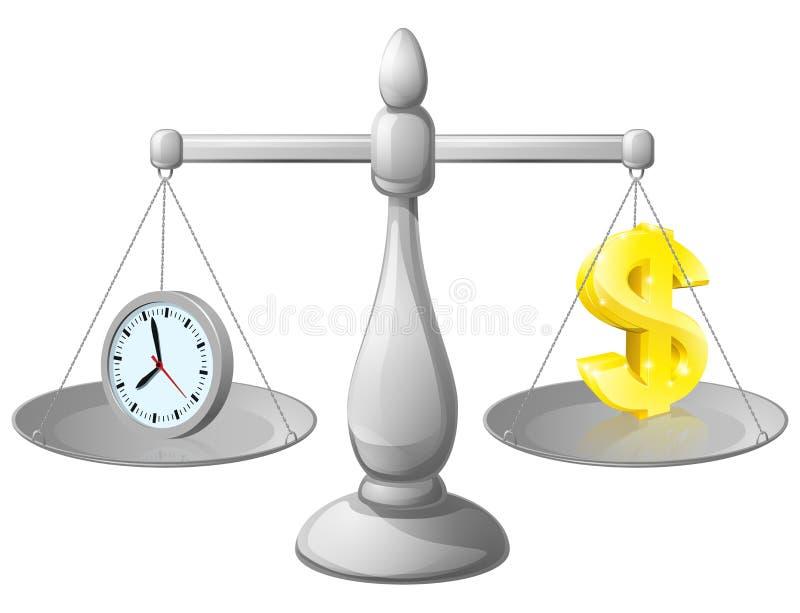 Zegarowa pieniądze równowaga ilustracja wektor