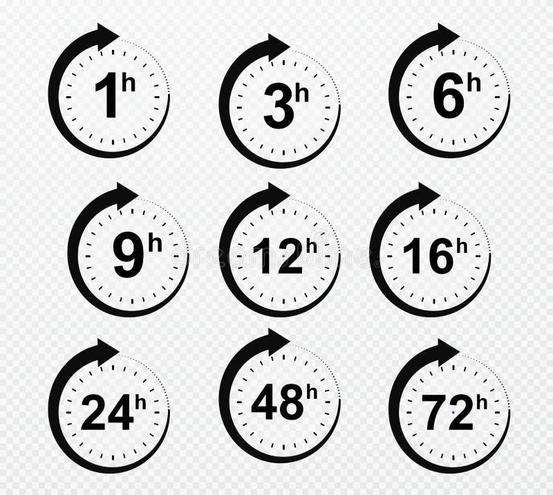 Zegarowe strzałkowate godziny Set doręczeniowe usługowego czasu ikony royalty ilustracja
