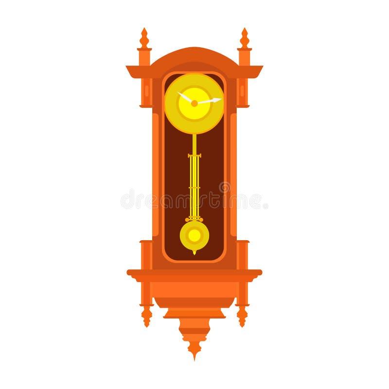 Zegarowego ściennego wektorowego wahadła czasu stara antykwarska ilustracja Rocznika retro odosobniony royalty ilustracja
