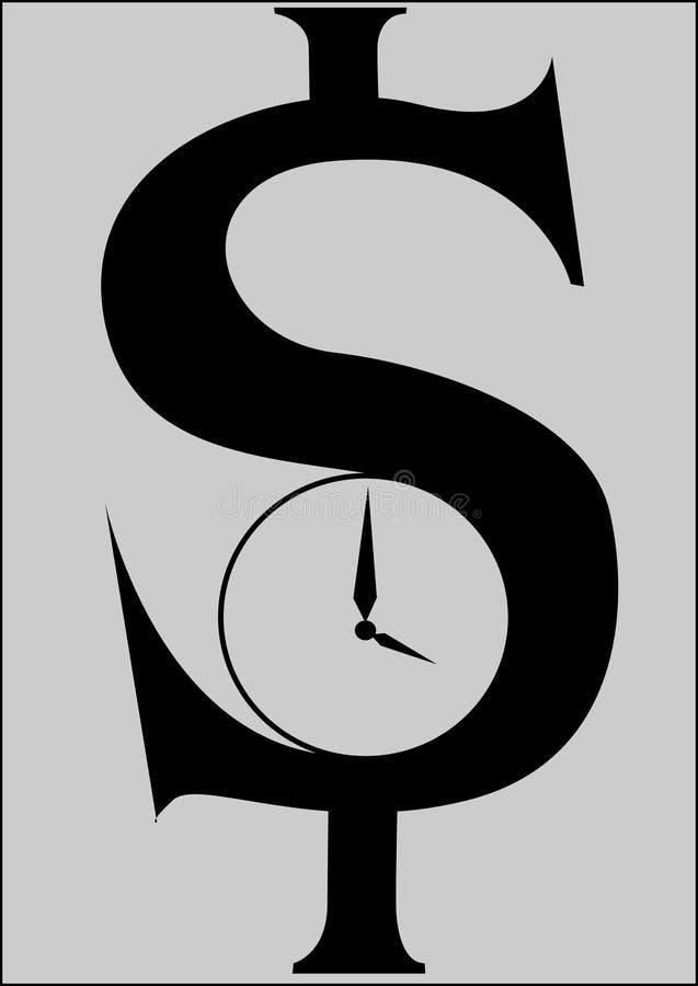 zegarowy dolar ilustracja wektor