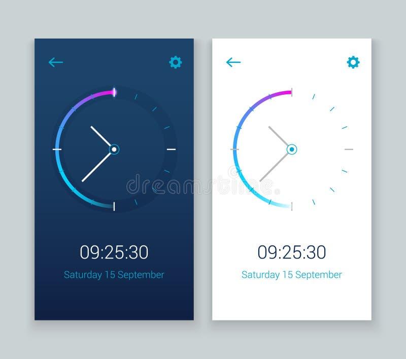 Zegarowy mobilny app pojęcia UI projekta dzień i noc Zegarowego interfejs użytkownika czasu widget wektorowego projekta nowożytna ilustracja wektor