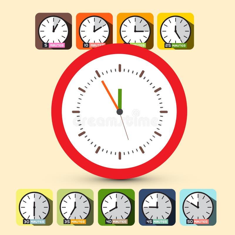 Zegarowy Set wektor pięć, 12 ilustracji