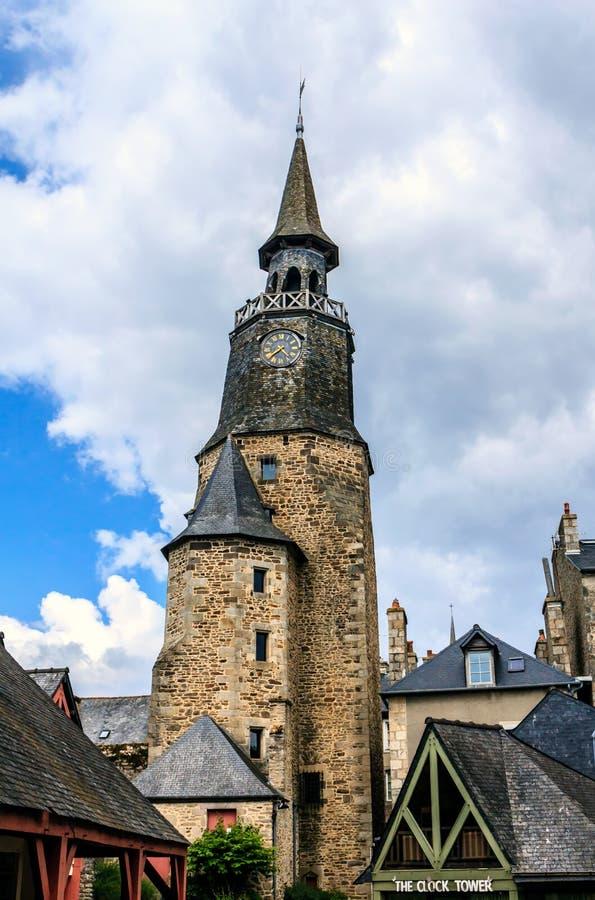 Zegarowy wierza Dinan, Brittany, Francja fotografia royalty free