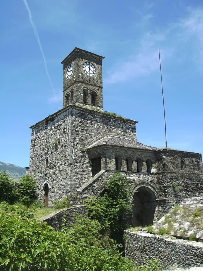 Zegarowy wierza, Gjirokastra, Albania zdjęcie stock