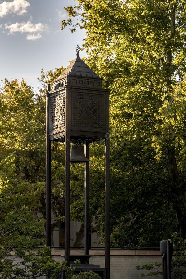 Zegarowy wierza ogródów świątyni Świątynny kwadrat Salt Lake City zdjęcie stock