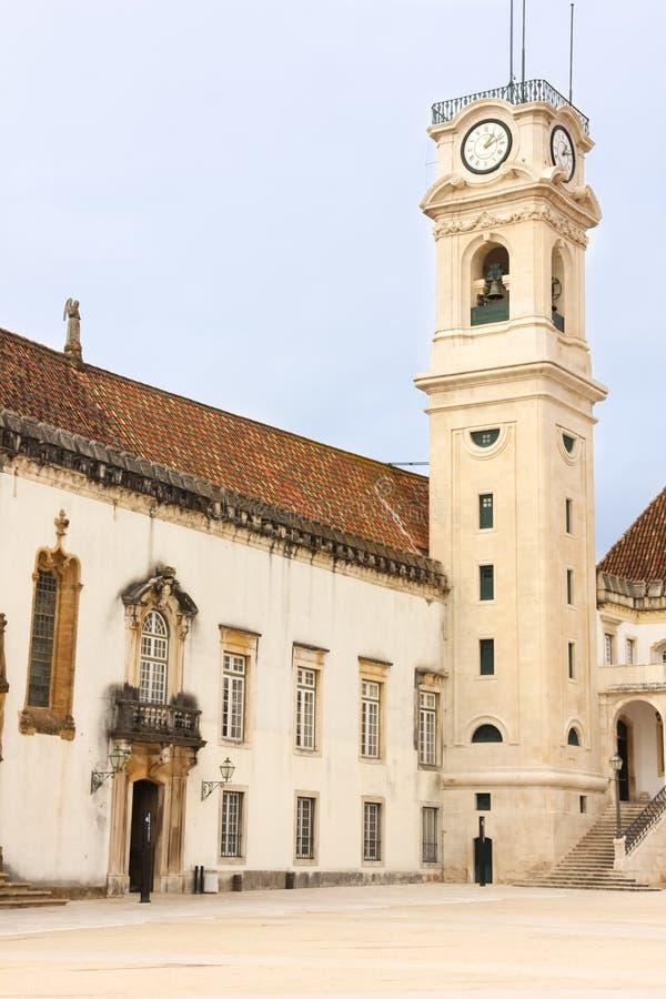 Zegarowy wierza przy uniwersytetem Coimbra Portugalia zdjęcie royalty free