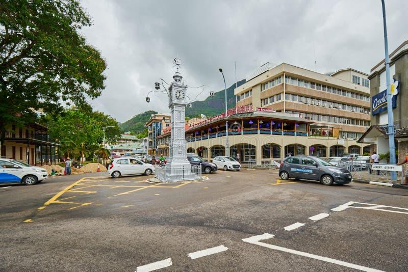 Zegarowy wierza także znać jako Mały Big Ben Wiktoria, Seychelles fotografia stock