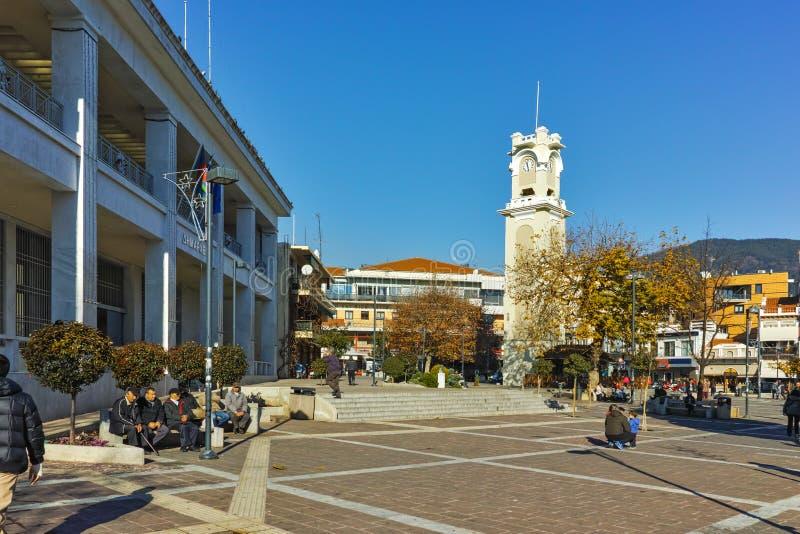 Zegarowy wierza w centrum miasteczko Xanthi, Grecja obrazy stock