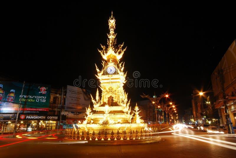 Zegarowy wierza w Chiang Raja, Tajlandia obrazy royalty free
