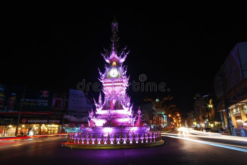 Zegarowy wierza w Chiang Raja, Tajlandia zdjęcia royalty free