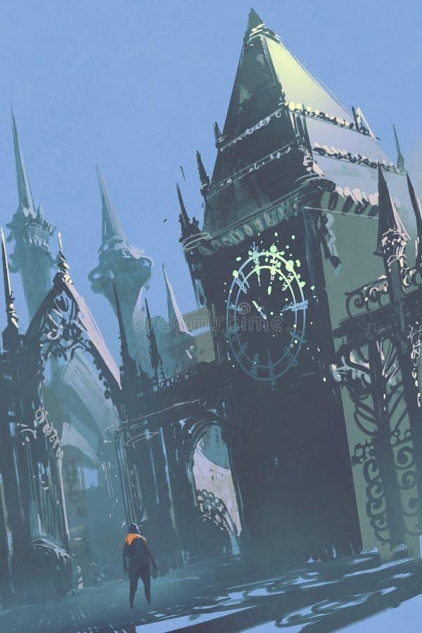 Zegarowy wierza w fantastyka naukowa mieście, ilustracja ilustracja wektor