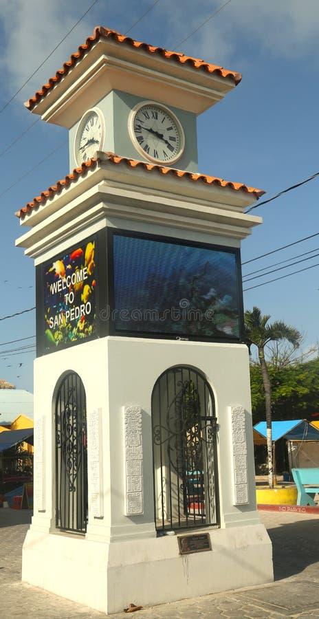 Zegarowy wierza w San Pedro, Belize obraz royalty free