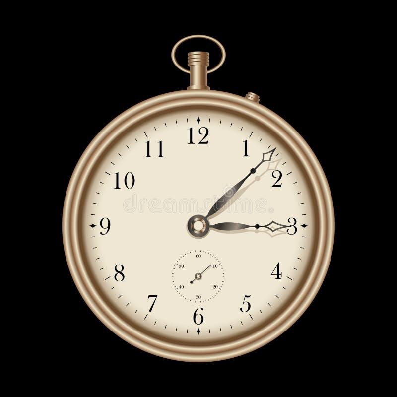 zegarowy złota wektoru rocznik ilustracja wektor