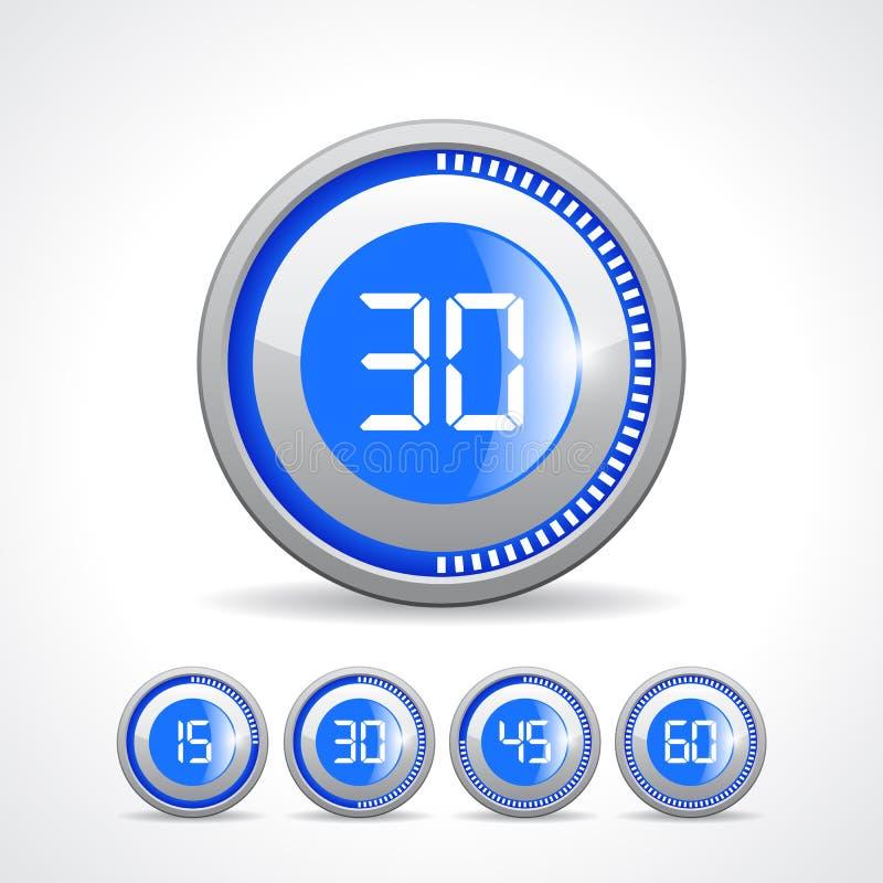 Zegary 15 30 45 60 minuta ilustracja wektor