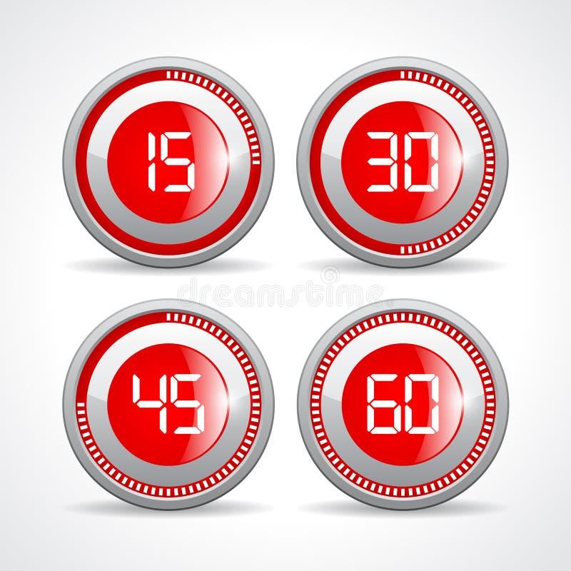 Zegary ustawiają 15 30 45 60 minut royalty ilustracja