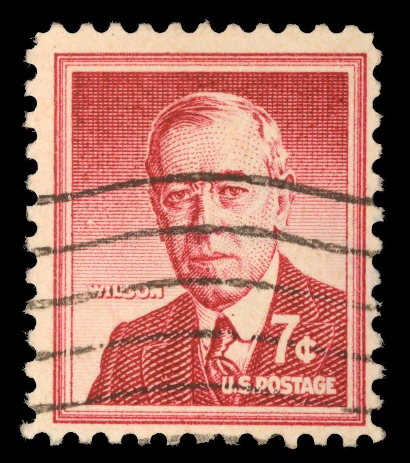 Zegel in de V.S. wordt gedrukt die Woodrow Wilson tonen dat royalty-vrije stock afbeeldingen