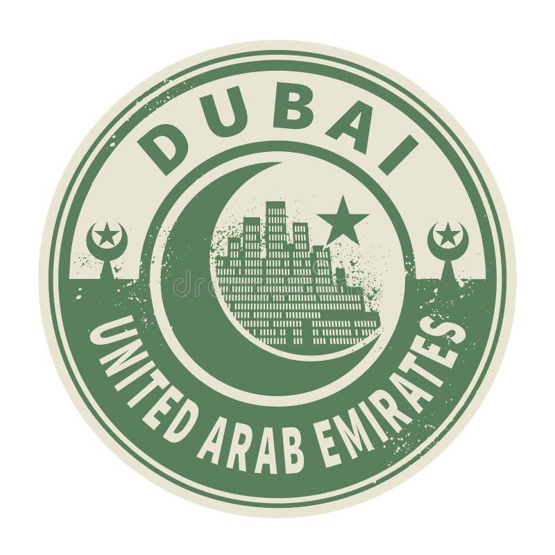 Zegel of embleem met binnen tekst Doubai, Verenigde Arabische Emiraten vector illustratie