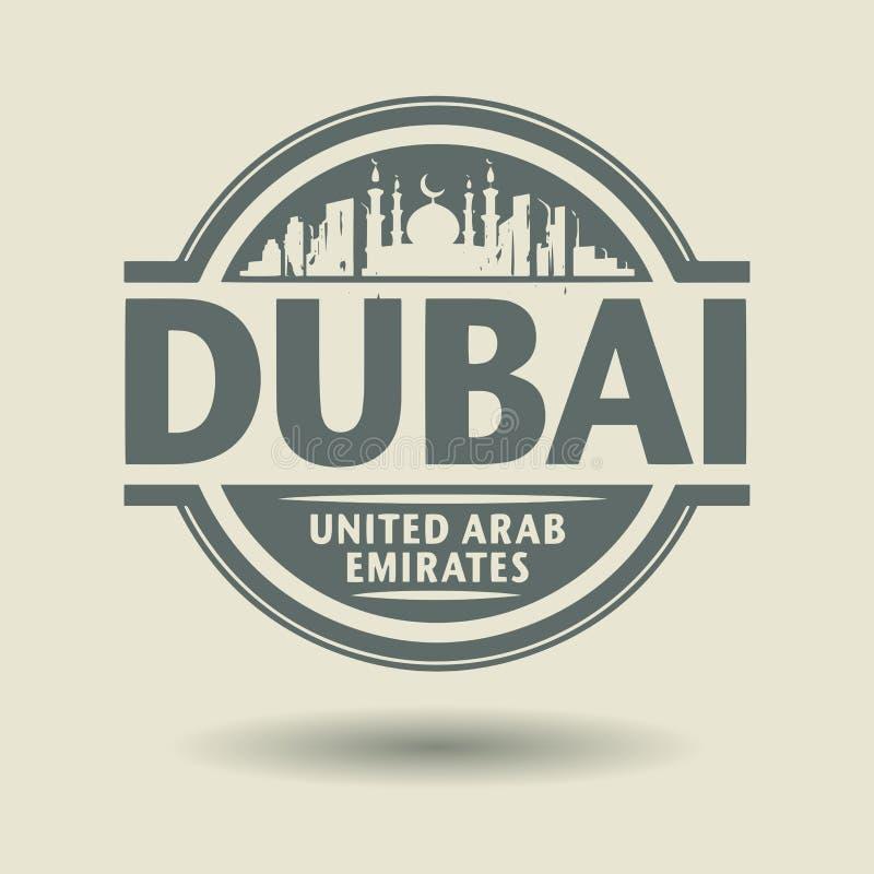 Zegel of etiket met binnen tekst Doubai, Verenigde Arabische Emiraten royalty-vrije illustratie